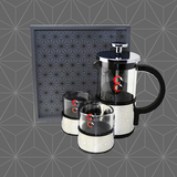 Coffee/tea set with wooden tray(Black)
