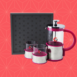 Coffee/tea set with wooden tray(Pink)