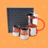 Coffee/tea set with wooden tray(Orange)